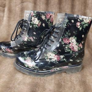 Simon Chang rain boots flowers floral rubber